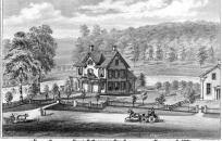 Lithograph image from 1876 of the residence and grounds of Elias G. Sherwood, Esq., Sherwoodville